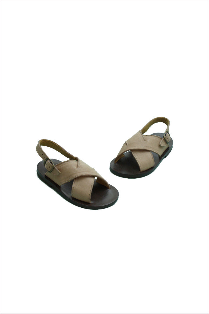 Cross Strap Sandal Pale Wheat