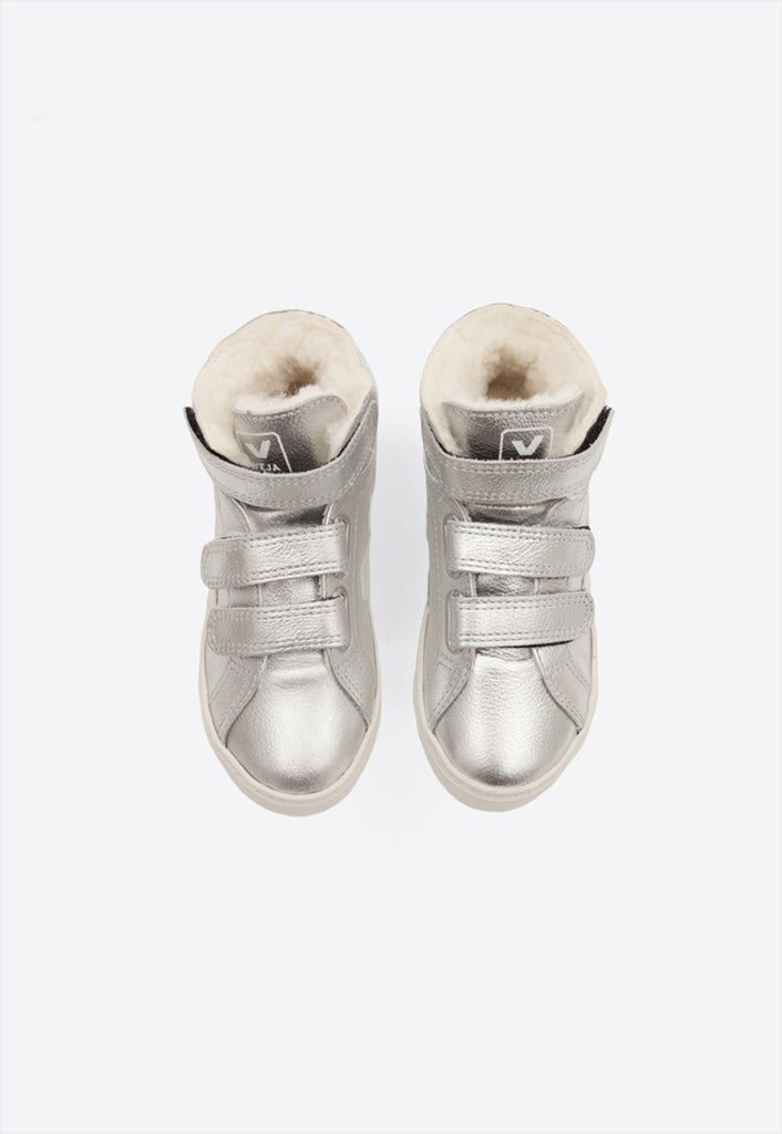 Veja Esplar Mid Leather Mat Furred Silver