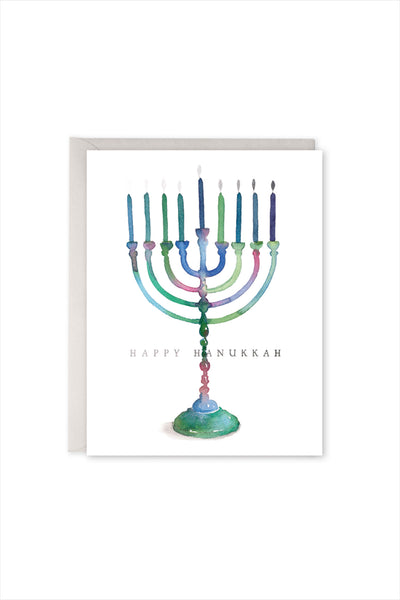 Colorful Menorah Card