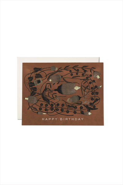 Amber Gold Birthday Card