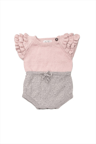 Ruffle Romper Dusty Pink/Light Grey