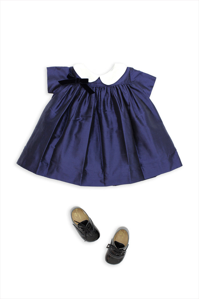 Baby Silk Party Dress Navy
