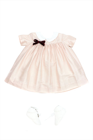 Baby Silk Party Dress Peach