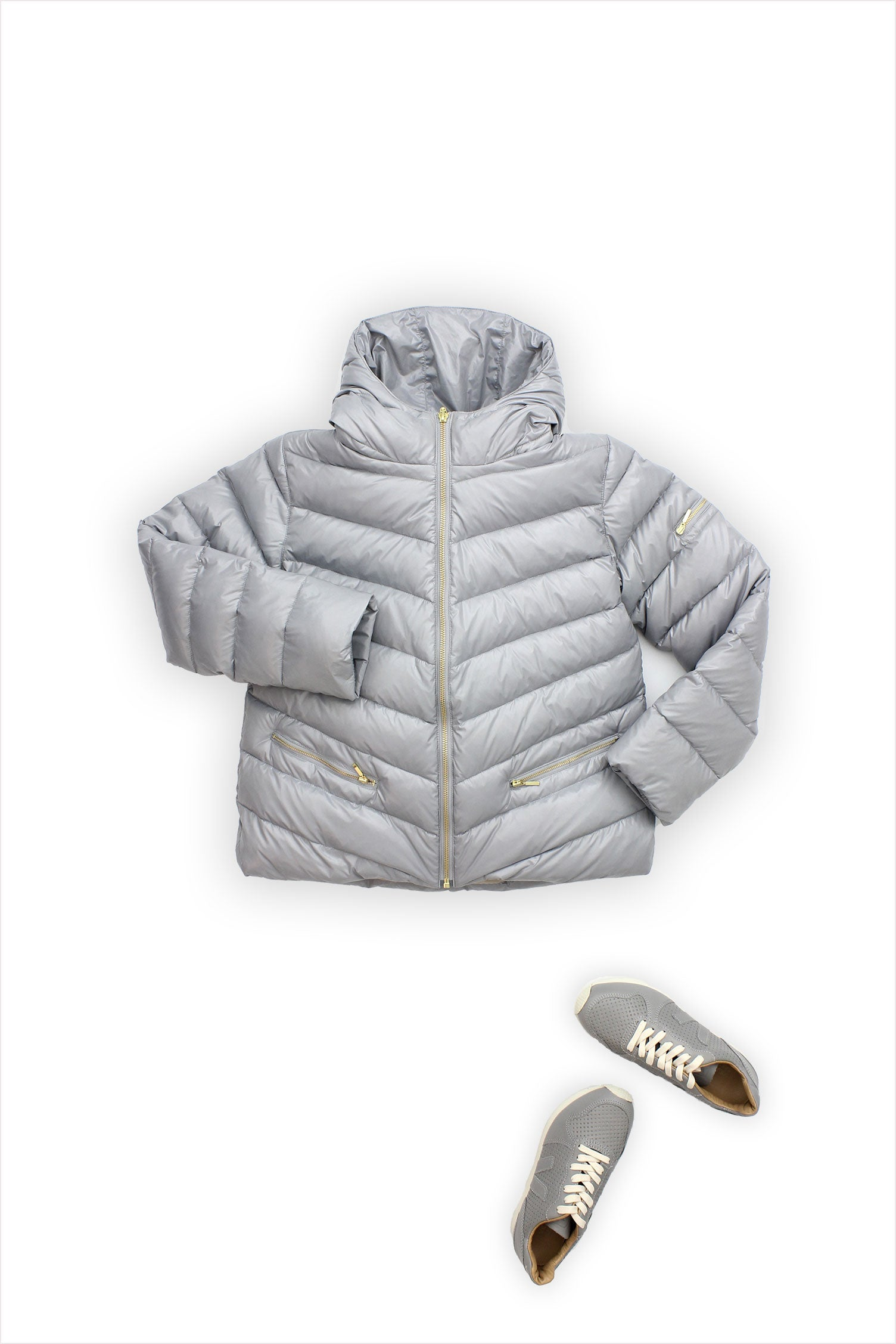 Flora and Henri Chevron Short Puffer