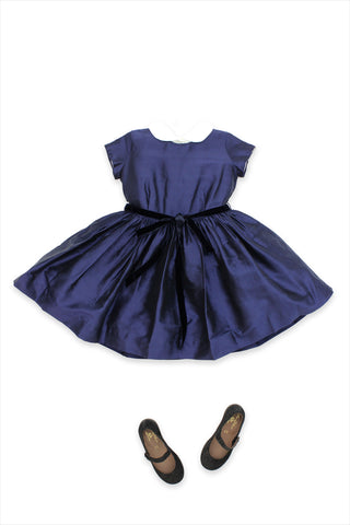 Silk Party Dress Navy