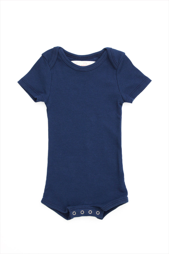 Short Sleeve Crawler w/ Snaps Navy