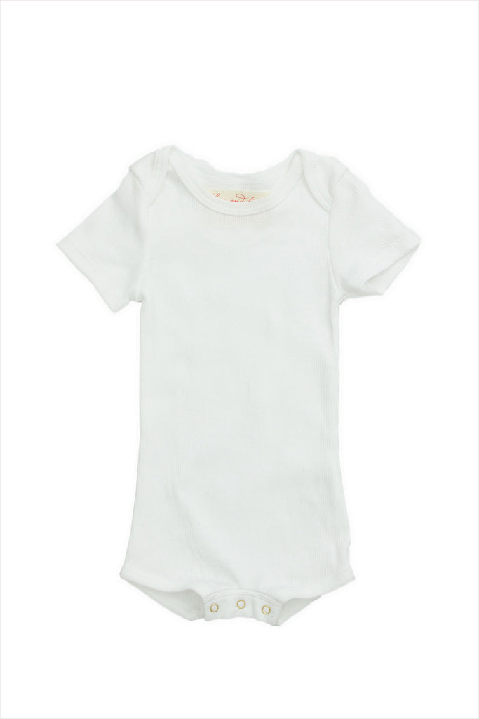 Short Sleeve Crawler w/ Snaps White