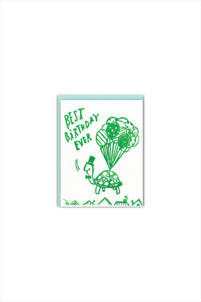 Flying Turtle Birthday Card