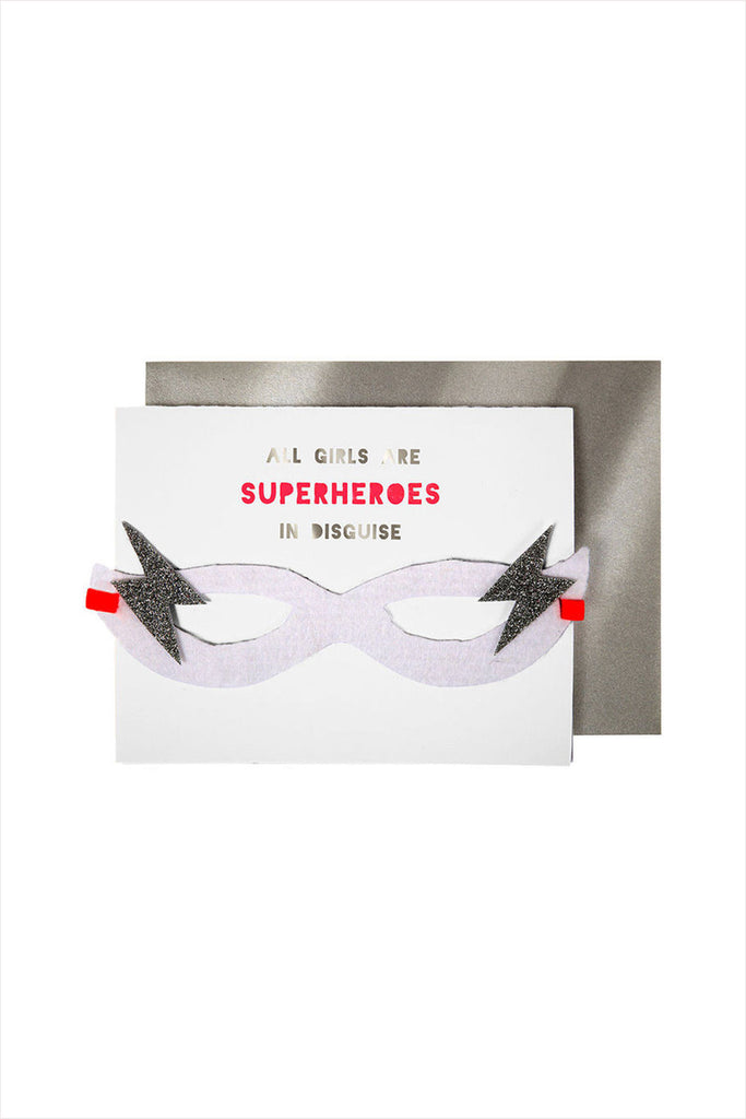 Girl Superhero Mask And Card