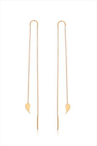 Wing Earrings W/ Long Chain (Pair)