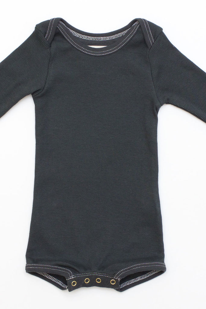 Long Sleeve Crawler w/ Snaps Charcoal