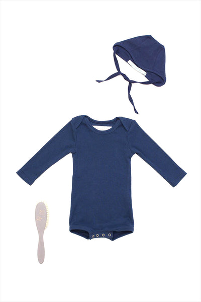 Long Sleeve Crawler w/ Snaps Navy
