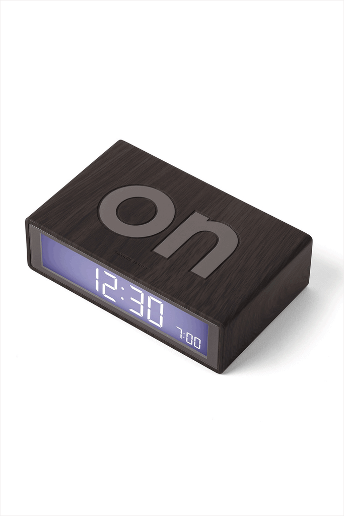 Flip Alarm Clock Dark Wood