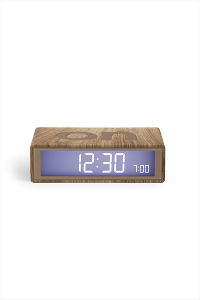 Flip Alarm Clock Clear Wood