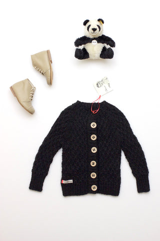 Mor Mor Nu Smocked Cardigan Black
