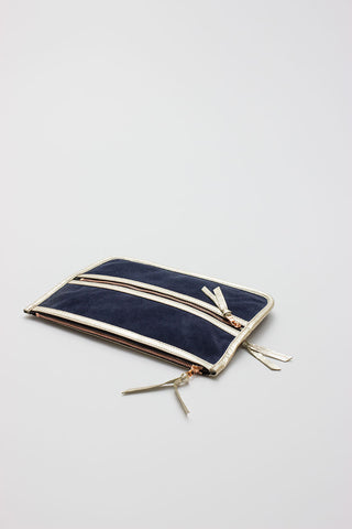 Multi Zip Jewelry Pouch Denim