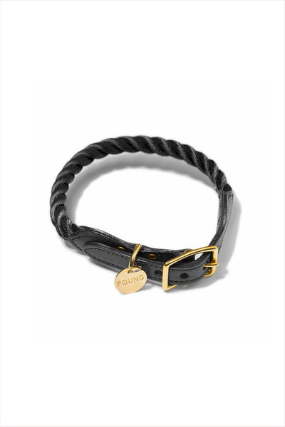 Rope And Leather Dog and Cat Collar Black