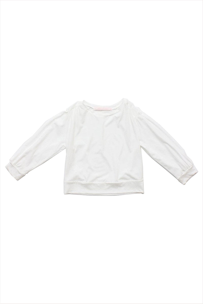 Puff Sleeve Jersey Blouse White
