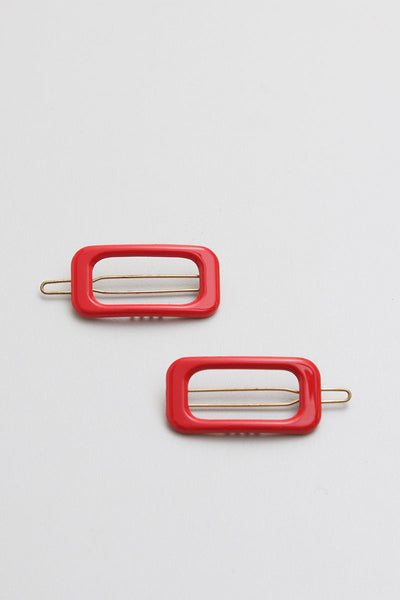 Rectangle Cherry Red Barrette