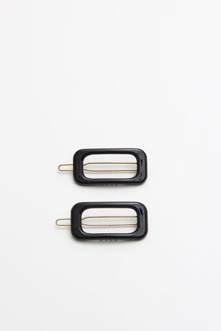 Rectangle Black Barrette
