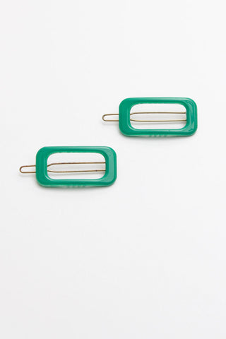 Rectangle Kelly Green Barrette