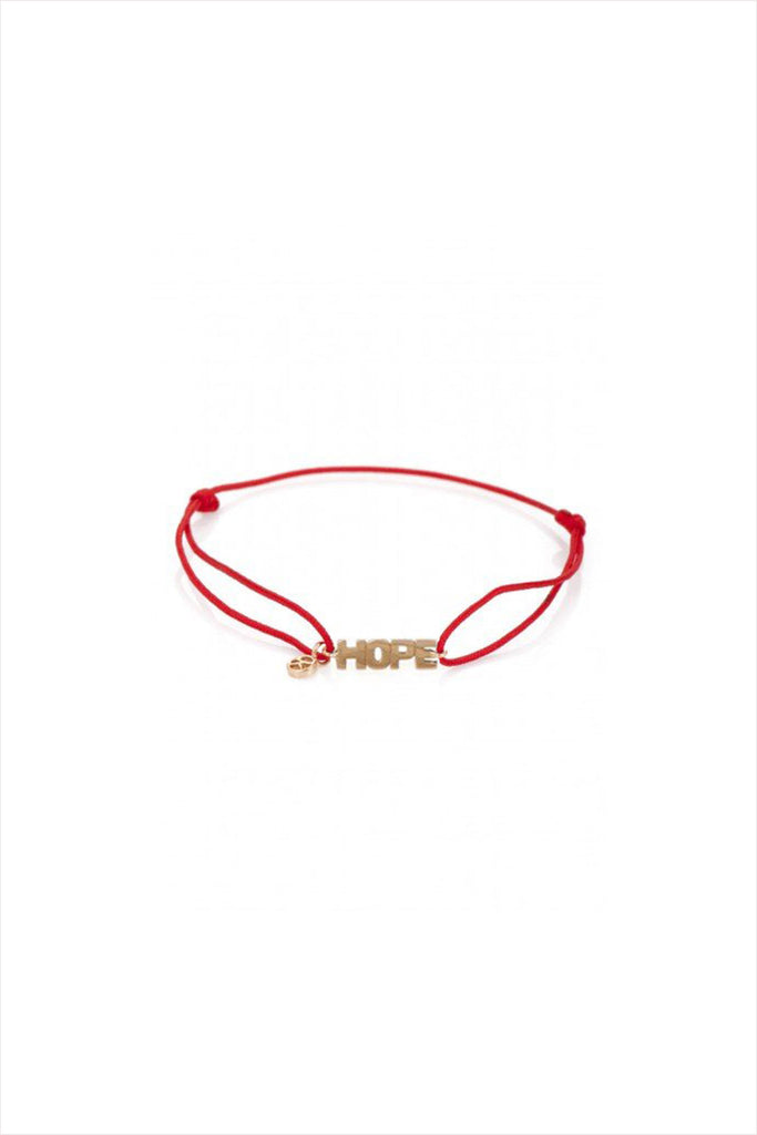 Hope Charm Bracelet On Red Chord