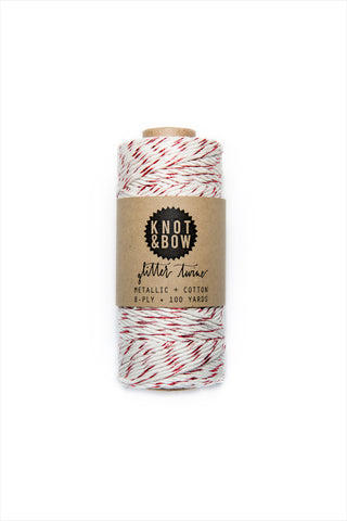 Red/Natural Glitter Twine