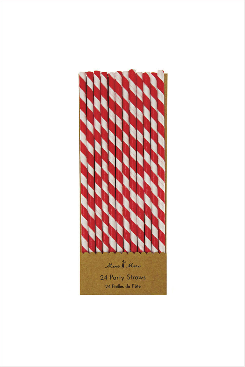 Red And White Party Straws