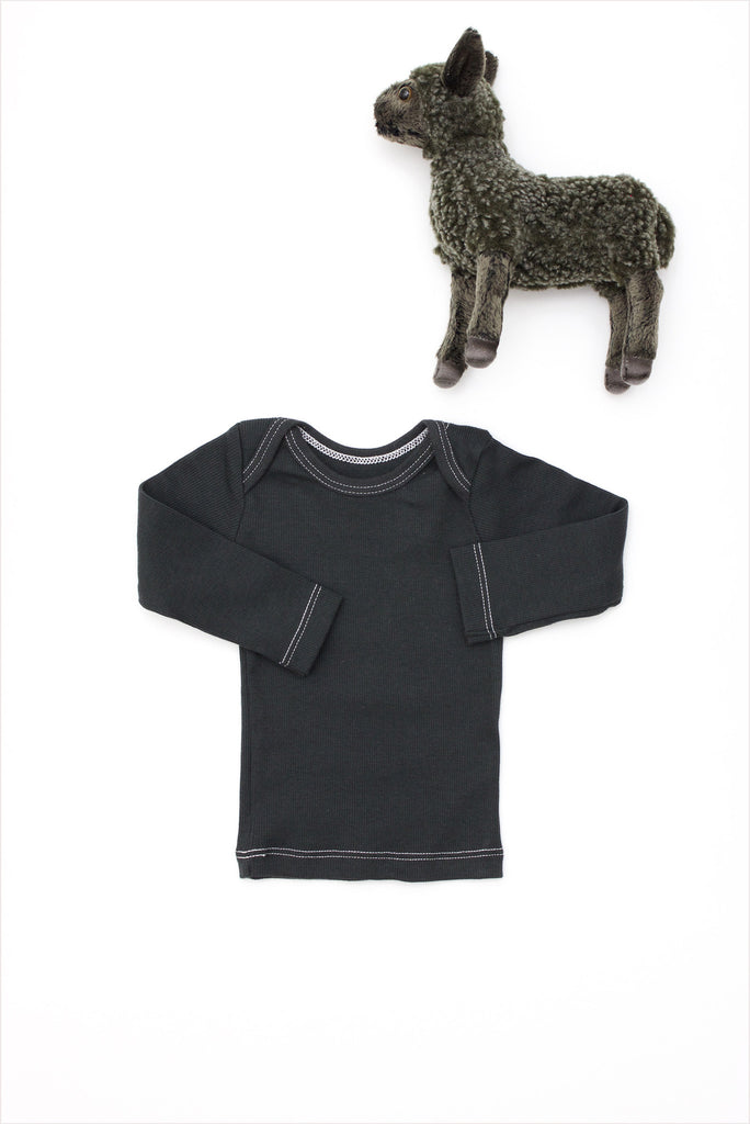 Rib Lap Shoulder Tee Long Sleeve Charcoal