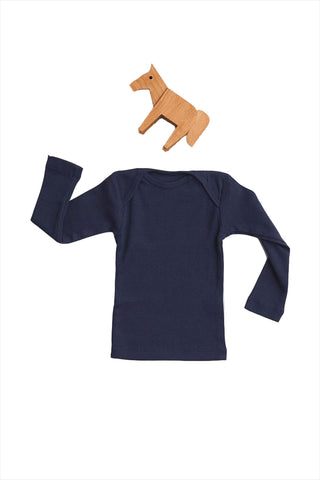 Rib Lap Shoulder Tee Long Sleeve Navy