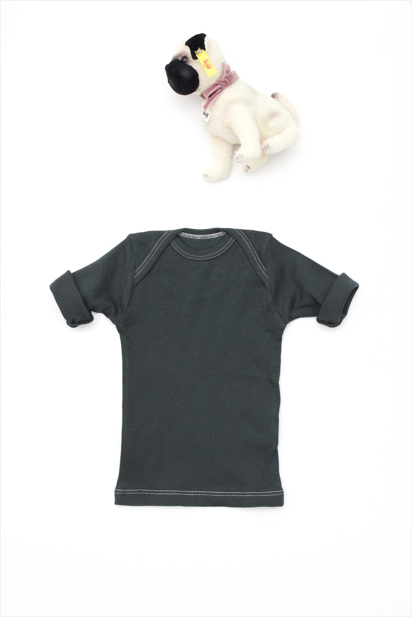 Rib Lap Shoulder Tee Short Sleeve Charcoal