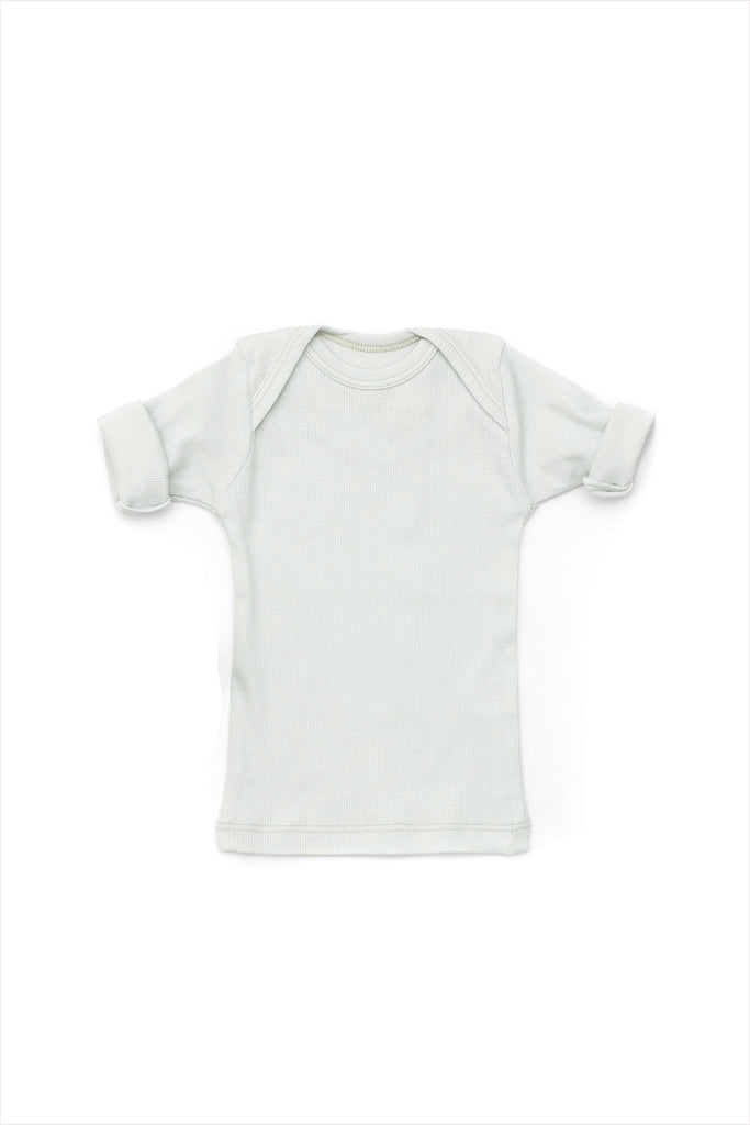 Rib Lap Shoulder Tee Short Sleeve Cloud
