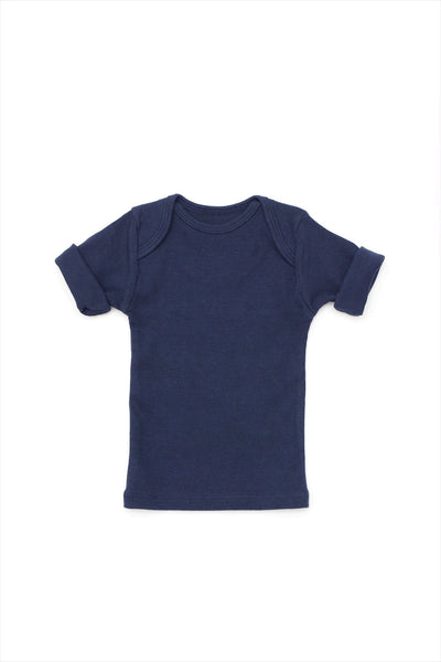 Rib Lap Shoulder Tee Short Sleeve Navy