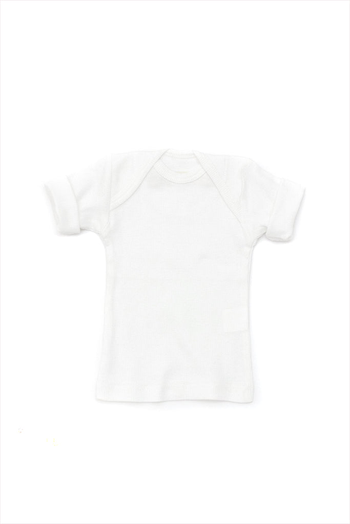 Rib Lap Shoulder Tee Short Sleeve White