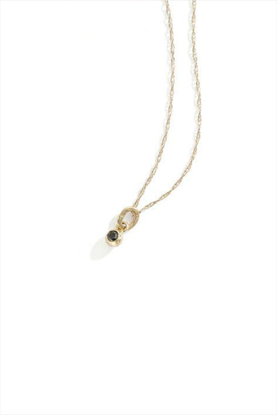 14K Yellow Gold Black Diamond Seed Necklace
