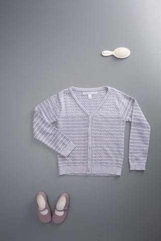 Striped Cardigan Lavender/Ecru