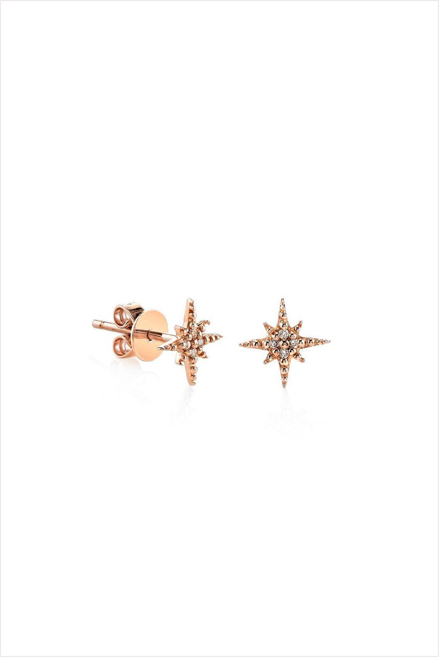 Mini Rose Gold Starburst Earrings