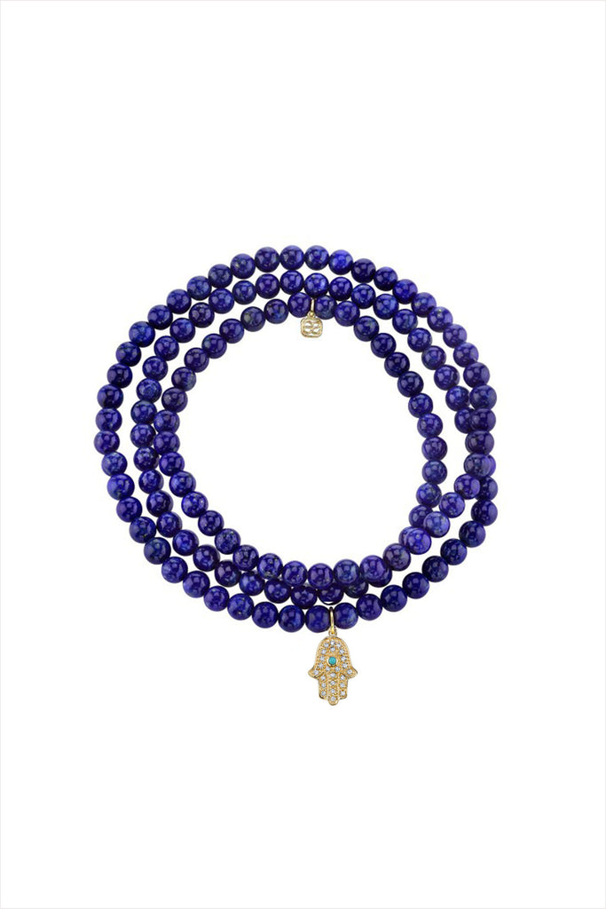 Lapis Wrap Bracelet And Hamsa