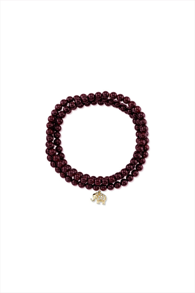 Red Garnet Wrap Bracelet And Elephant
