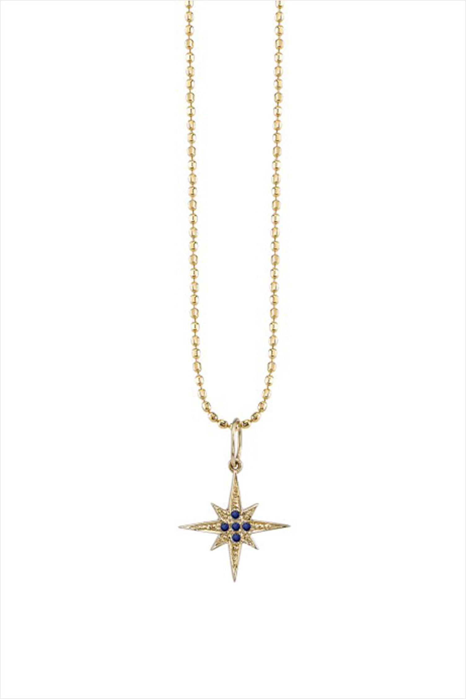 Small Starburst Necklace with Pave Sapphire