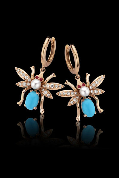 Macc Jewels Beetle Turquoise Earrings