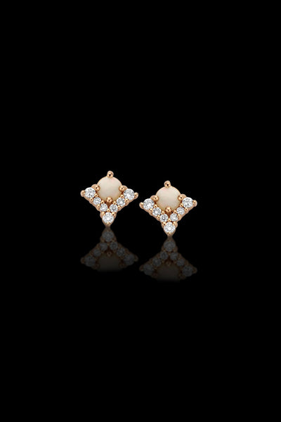 Macc Jewels Opal And Diamond Triangle Earrings