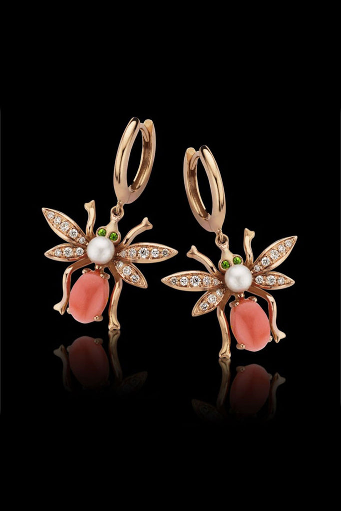 Macc Jewels Beetle Coral Earrings