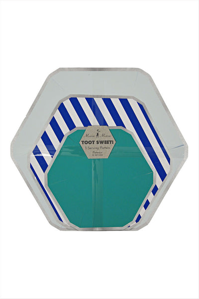 Toot Sweet Blue Stripe Platter Set