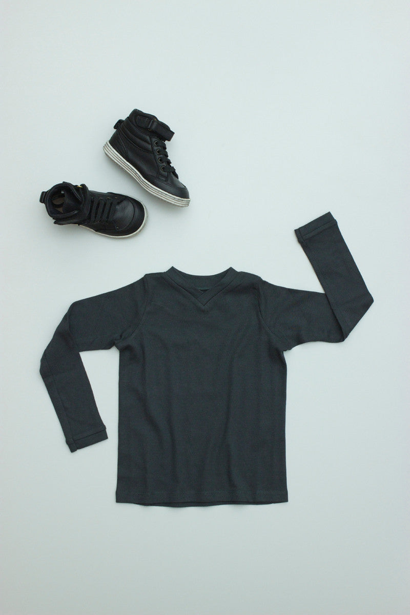 V-Neck Tee Long Sleeve Sale Charcoal