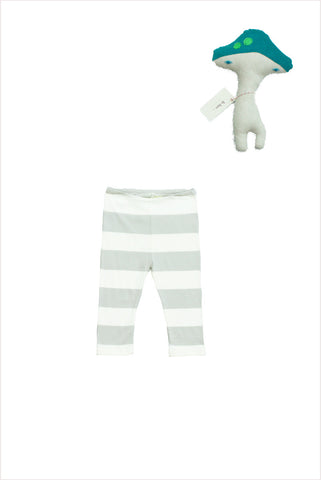 Wide Stripe Baby Legging Dove Gray
