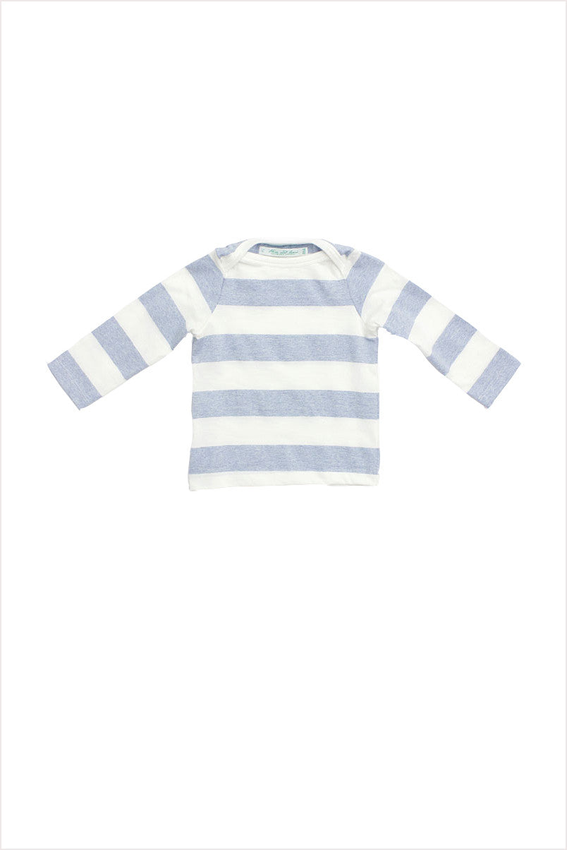 Wide Stripe Boatneck Tee Pale Blue