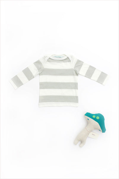 Wide Stripe Boatneck Tee Dove Gray