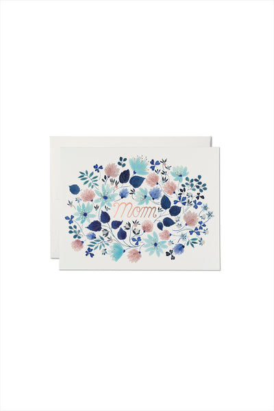 Blue Floral Burst Foil Mother's Day Card