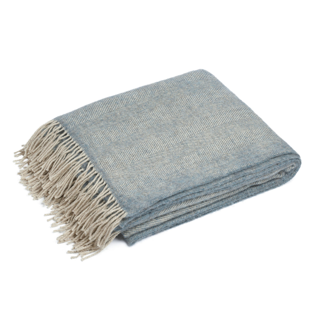 Blue grey British Lambswool Herringbone Blanket